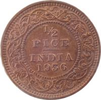 reverse of 1/2 Pice - George V (1912 - 1936) coin with KM# 510 from India. Inscription: 1/2 PICE INDIA 1912