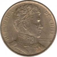 obverse of 1 Peso - Smaller (1981 - 1992) coin with KM# 216 from Chile. Inscription: REPUBLICA DE CHILE LIBERTADOR B. O'HIGGINS So