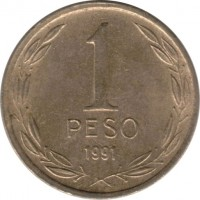 reverse of 1 Peso - Smaller (1981 - 1992) coin with KM# 216 from Chile. Inscription: 1 PESO 1991