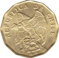 obverse of 5 Centavos (1975 - 1976) coin with KM# 204 from Chile. Inscription: REPUBLICA DE CHILE So