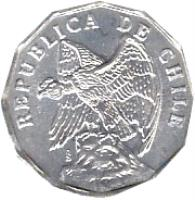 obverse of 10 Centavos (1976 - 1979) coin with KM# 205a from Chile. Inscription: REPUBLICA DE CHILE So