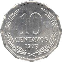 reverse of 10 Centavos (1976 - 1979) coin with KM# 205a from Chile. Inscription: 10 CENTAVOS 1978