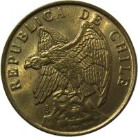 obverse of 50 Centavos (1978 - 1979) coin with KM# 206a from Chile. Inscription: REPUBLICA DE CHILE So