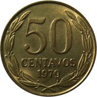reverse of 50 Centavos (1978 - 1979) coin with KM# 206a from Chile. Inscription: 50 CENTAVOS 1979