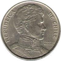 obverse of 1 Peso - BERNARDO O'HIGGINS (1975) coin with KM# 207 from Chile. Inscription: REPUBLICA DE CHILE BERNARDO O'HIGGINS So