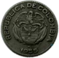 obverse of 10 Centavos (1952 - 1967) coin with KM# 212 from Colombia. Inscription: REPUBLICA DE COLOMBIA 1955