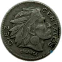 reverse of 10 Centavos (1952 - 1967) coin with KM# 212 from Colombia. Inscription: DIEZ CENTAVOS CALARCA