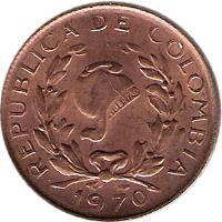 obverse of 5 Centavos - With date (1967 - 1979) coin with KM# 206a from Colombia. Inscription: REPUBLICA DE COLOMBIA 1967