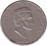 obverse of 50 Centavos (1958 - 1966) coin with KM# 217 from Colombia. Inscription: LIBERTADOR SIMON BOLIVAR 1963