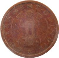 obverse of 1 Pice (1950 - 1955) coin with KM# 1 from India. Inscription: GOVERNMENT · OF · INDIA
