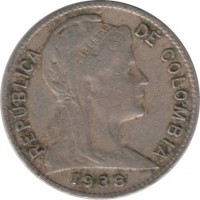 obverse of 1 Centavo (1918 - 1948) coin with KM# 275 from Colombia. Inscription: REPUBLICA DE COLOMBIA 1938