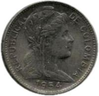 obverse of 1 Centavo (1952 - 1958) coin with KM# 275a from Colombia. Inscription: REPUBLICA DE COLOMBIA 1952