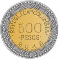 reverse of 500 Pesos (2012 - 2015) coin with KM# 298 from Colombia. Inscription: .REPÚBLICA DE COLOMBIA. 500 .PESOS. 2012