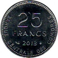reverse of 25 Francs - FAO (2013) coin with KM# 14b from Comoro Islands. Inscription: 25 FRANCS 2013 BANQUE CENTRALE DES COMORES