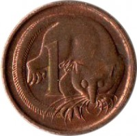 reverse of 1 Cent - Elizabeth II (1985 - 1991) coin with KM# 78 from Australia. Inscription: 1 SD