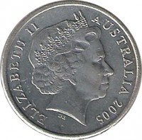 obverse of 5 Cents - Elizabeth II (1999 - 2015) coin with KM# 401 from Australia. Inscription: ELIZABETH II AUSTRALIA 2005 IRB