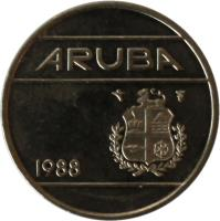 obverse of 25 Cents - Beatrix (1986 - 2014) coin with KM# 3 from Aruba. Inscription: ARUBA 1986