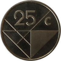 reverse of 25 Cents - Beatrix (1986 - 2014) coin with KM# 3 from Aruba. Inscription: 25 c