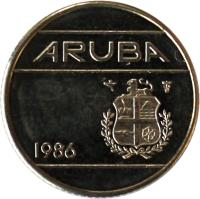 obverse of 10 Cents - Beatrix (1986 - 2014) coin with KM# 2 from Aruba. Inscription: ARUBA 1986