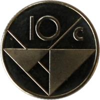 reverse of 10 Cents - Beatrix (1986 - 2014) coin with KM# 2 from Aruba. Inscription: 10 c