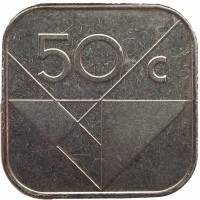 reverse of 50 Cents - Beatrix (1986 - 2014) coin with KM# 4 from Aruba. Inscription: 50 c