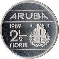 reverse of 2 1/2 Florin - Beatrix (1986 - 2012) coin with KM# 6 from Aruba. Inscription: ARUBA 1986 2 1/2 florin