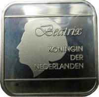 obverse of 5 Florin - Beatrix (1995 - 2005) coin with KM# 12 from Aruba. Inscription: Beatrix KONINGIN DER NEDERLANDEN