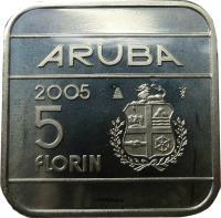 reverse of 5 Florin - Beatrix (1995 - 2005) coin with KM# 12 from Aruba. Inscription: ARUBA 1996 5 florin