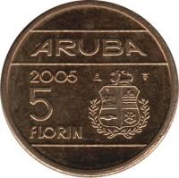 reverse of 5 Florin - Beatrix (2005 - 2013) coin with KM# 38 from Aruba. Inscription: ARUBA 2005 5 FLORIN