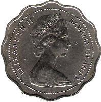 obverse of 10 Cents - Elizabeth II - 2'nd Portrait (1966 - 1970) coin with KM# 4 from Bahamas. Inscription: ELIZABETH II BAHAMA ISLANDS