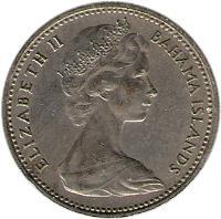 obverse of 5 Cents - Elizabeth II - 2'nd Portrait (1966 - 1970) coin with KM# 3 from Bahamas. Inscription: ELIZABETH II BAHAMA ISLANDS