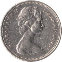 obverse of 25 Cents - Elizabeth II - 2'nd Portrait (1966 - 1970) coin with KM# 6 from Bahamas. Inscription: ELIZABETH II BAHAMA ISLANDS