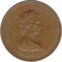 obverse of 1 Cent - Elizabeth II - 2'nd Portrait (1971 - 1973) coin with KM# 16 from Bahamas. Inscription: COMMONWEALTH OF THE BAHAMA ISLANDS · ELIZABETH II ·