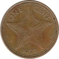 reverse of 1 Cent - Elizabeth II - 2'nd Portrait (1971 - 1973) coin with KM# 16 from Bahamas. Inscription: ONE CENT · 1972 ·
