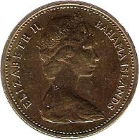 obverse of 1 Cent - Elizabeth II - 2'nd Portrait (1966 - 1969) coin with KM# 2 from Bahamas. Inscription: ELIZABETH II BAHAMA ISLANDS