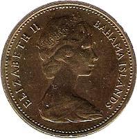 obverse of 1 Cent - Elizabeth II - 2'nd Portrait (1966 - 1969) coin with KM# 2 from Bahamas. Inscription: ELIZABETH II BAHAMA ISLANDS