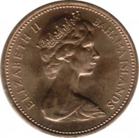 obverse of 1 Cent - Elizabeth II - 2'nd Portrait (1970) coin with KM# 15 from Bahamas. Inscription: ELIZABETH II BAHAMA ISLANDS