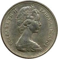 obverse of 50 Cents - Elizabeth II - 2'nd Portrait (1966 - 1970) coin with KM# 7 from Bahamas. Inscription: ELIZABETH II BAHAMA ISLANDS