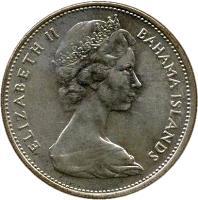 obverse of 1 Dollar - Elizabeth II - 2'nd Portrait (1966 - 1970) coin with KM# 8 from Bahamas. Inscription: ELIZABETH II BAHAMA ISLANDS