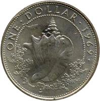 reverse of 1 Dollar - Elizabeth II - 2'nd Portrait (1966 - 1970) coin with KM# 8 from Bahamas. Inscription: ONE · DOLLAR · 1970 ·