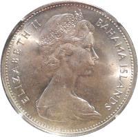 obverse of 2 Dollars - Elizabeth II - 2'nd Portrait (1966 - 1970) coin with KM# 9 from Bahamas. Inscription: ELIZABETH II BAHAMA ISLANDS