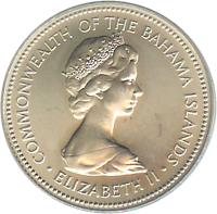 obverse of 25 Cents - Elizabeth II - 2'nd Portrait (1971 - 1973) coin with KM# 20 from Bahamas. Inscription: COMMONWEALTH OF THE BAHAMAS ISLANDS · ELIZABETH II ·