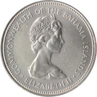 obverse of 50 Cents - Elizabeth II - 2'nd Portrait (1971 - 1973) coin with KM# 21 from Bahamas. Inscription: COMMONWEALTH OF THE BAHAMA ISLANDS · ELIZABETH II ·