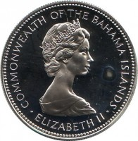 obverse of 1 Dollar - Elizabeth II - 2'nd Portrait (1971 - 1973) coin with KM# 22 from Bahamas. Inscription: COMMONWEALTH OF THE BAHAMA ISLANDS · ELIZABETH II ·