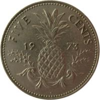 reverse of 5 Cents - Elizabeth II - 2'nd Portrait (1973) coin with KM# 38 from Bahamas. Inscription: FIVE CENTS 19 73