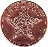 reverse of 1 Cent - Elizabeth II (1985 - 2004) coin with KM# 59a from Bahamas. Inscription: · ONE CENT ·