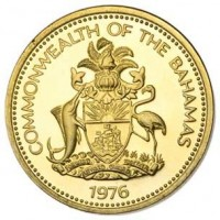 obverse of 1 Cent - Elizabeth II (1974 - 1985) coin with KM# 59 from Bahamas. Inscription: COMMONWEALTH OF THE BAHAMAS 1976