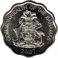 obverse of 10 Cents - Elizabeth II (2007 - 2010) coin with KM# 219 from Bahamas. Inscription: COMMONWEALTH OF THE BAHAMAS 2007