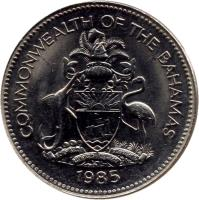 obverse of 25 Cents - Elizabeth II - Magnetic (1974 - 1989) coin with KM# 63.1 from Bahamas. Inscription: COMMONWEALTH OF THE BAHAMAS 1977
