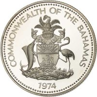 obverse of 50 Cents - Elizabeth II (1974 - 1992) coin with KM# 64 from Bahamas. Inscription: COMMONWEALTH OF THE BAHAMAS 1974